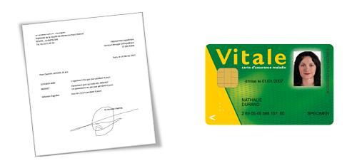 ordonnance et carte vitale,à préparer pour le passage de l'infirmier à domicile