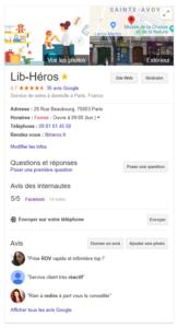 Exemple de fiche Google MyBusiness complétée