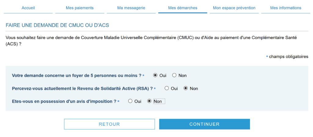 Demande en ligne de CMUC